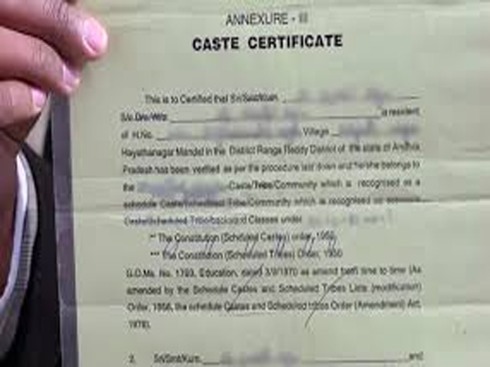 One-time caste certificate hereafter