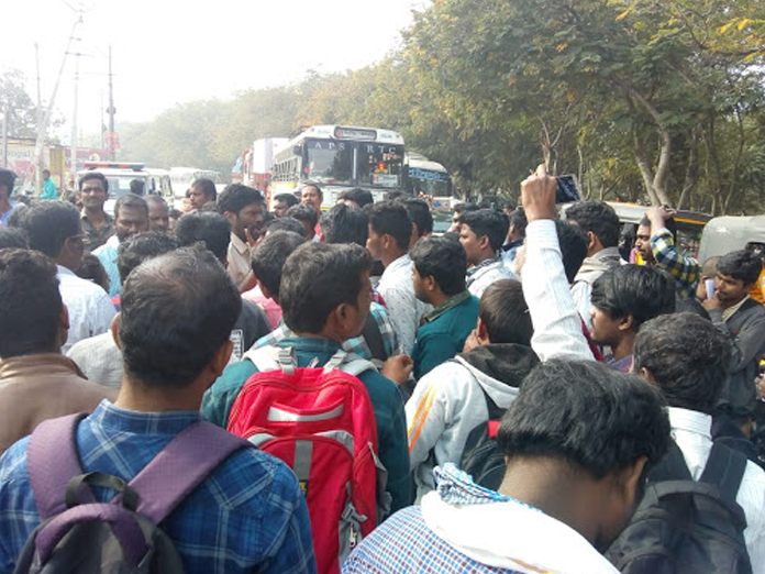 Tension prevails in Cherlapalli after DSC aspirants not allowed into exam hall