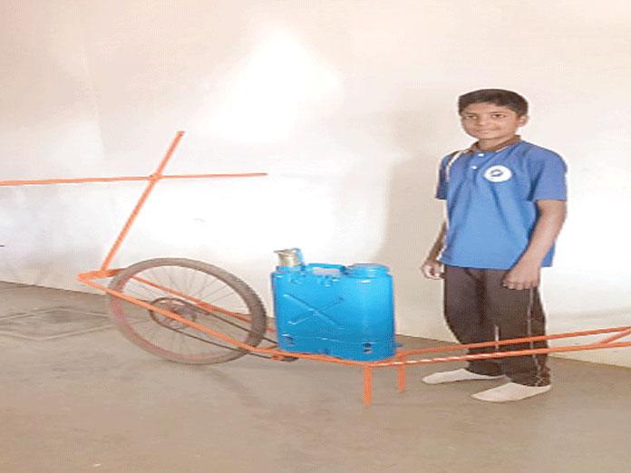 Class 10 student displays innovative farm machine