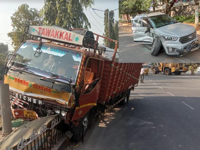A DCM van hit the car and rammed into a divider at Rajbhavan