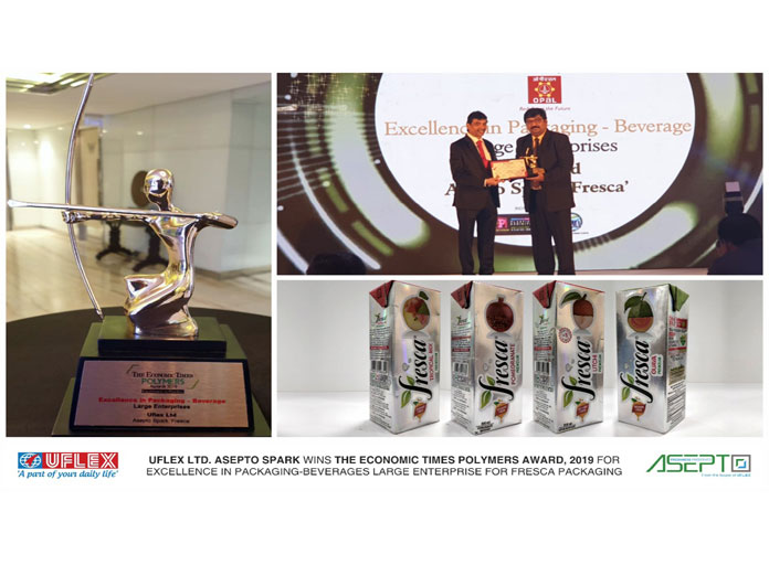 Uflex Honoured with 'Excellence in Packaging –Beverages' at The ET Polymers Awards 2019