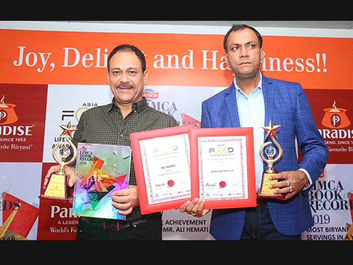 Paradise restaurant enters limca book of records with 70,44,289 biryani servings in a year