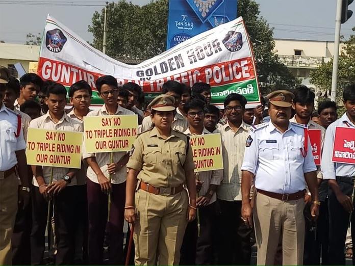 Road safety awareness rally taken out in Guntur