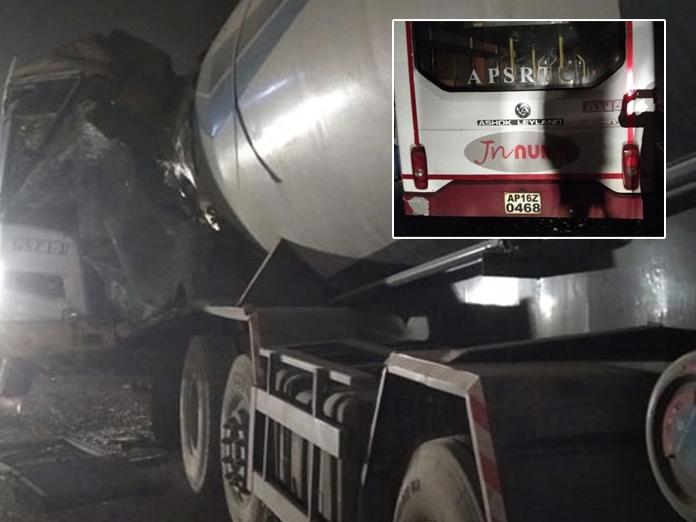 2 killed, 15 injured after RTC bus rams into tanker in Nalgonda