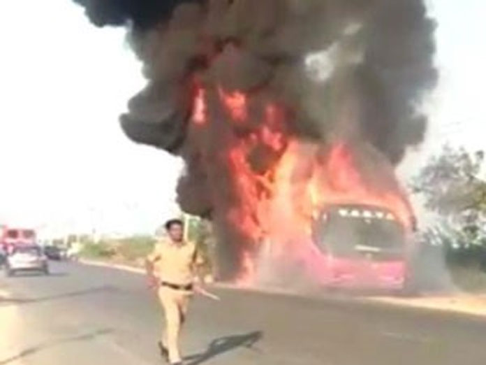 Volvo bus catches fire in Hyderabad