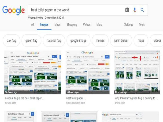 Google shows Pakistan flag when searched for