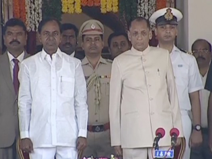 KCR & Telangana Ministers takes part in swearing in ceremony
