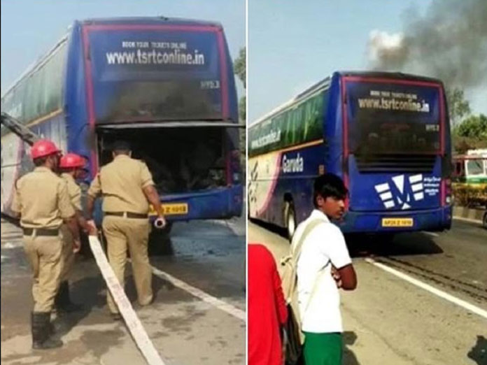 TSRTC Garuda bus catches fire in Vijayawada