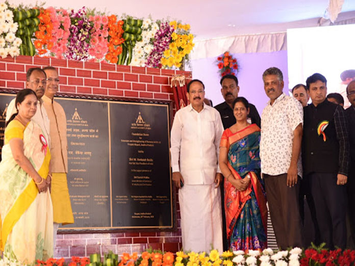 Vice President lays stone for Tirupati runway expansion