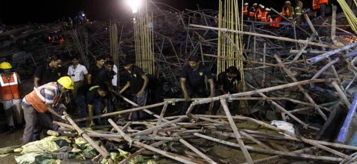 1 killed, 16 injured as under-construction building collapses
