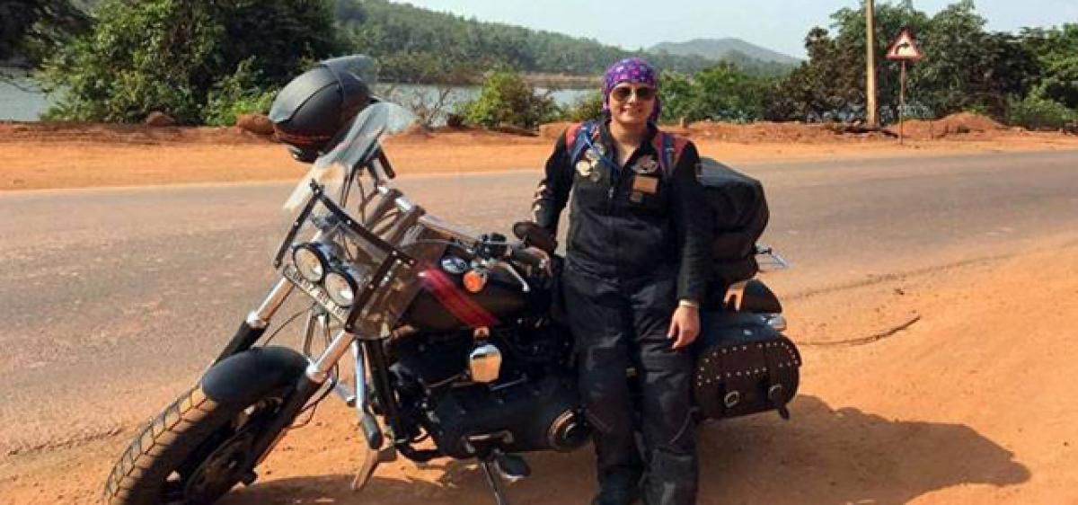 Woman biker's path-breaking adventure on Harley