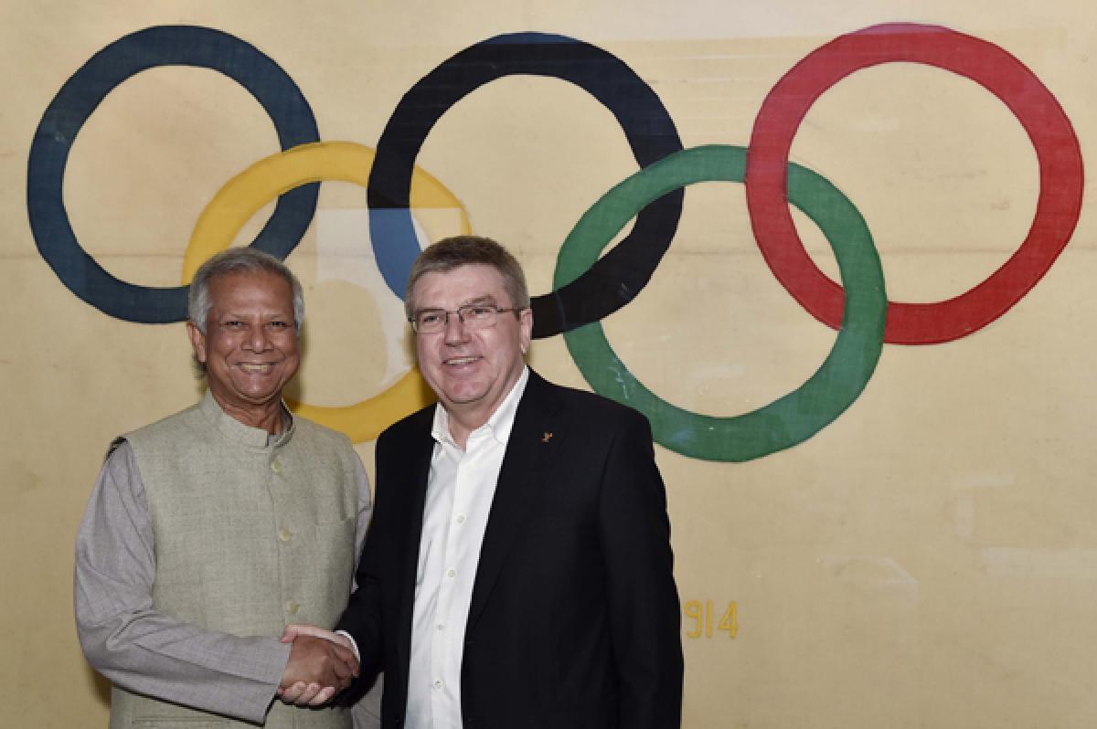 Prof Yunus is Torchbearer at Rio Olympics