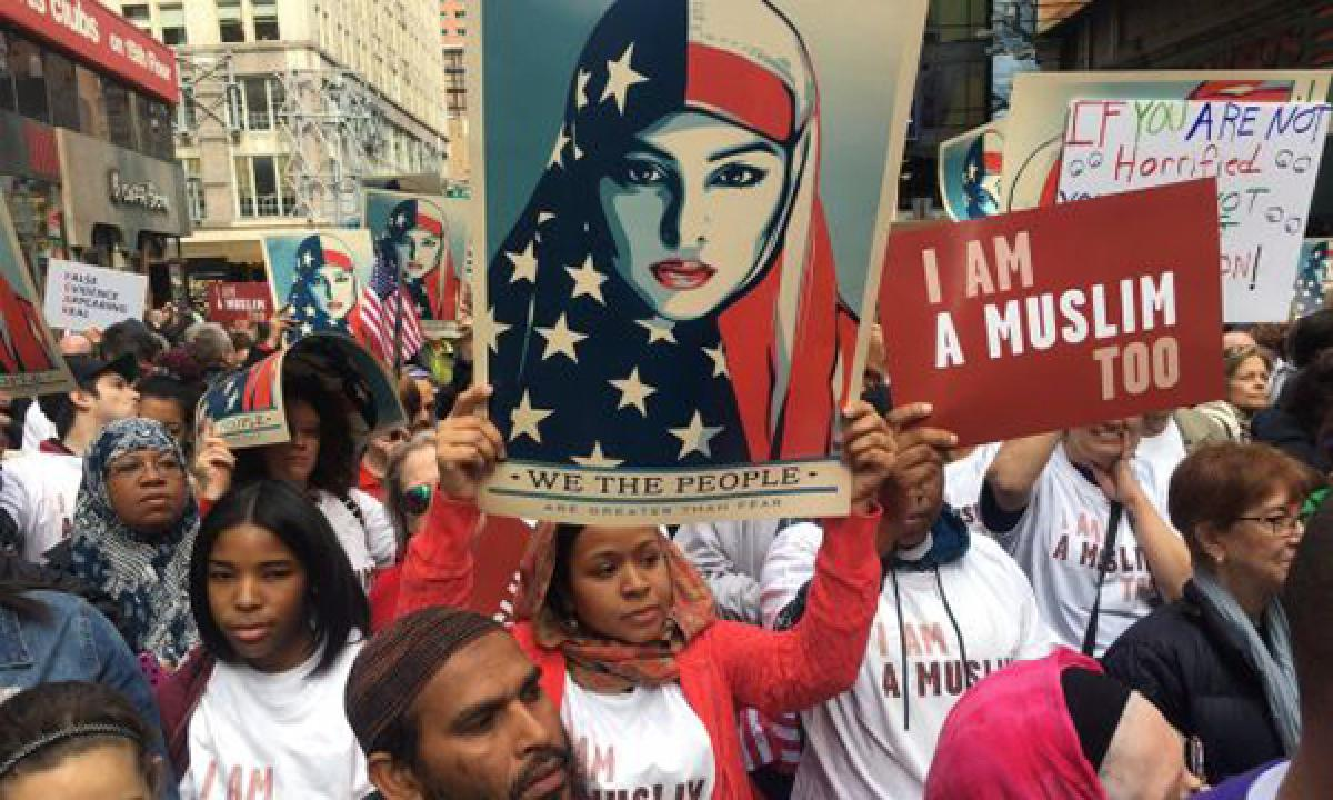 Times Square rally protests Trump immigration policies