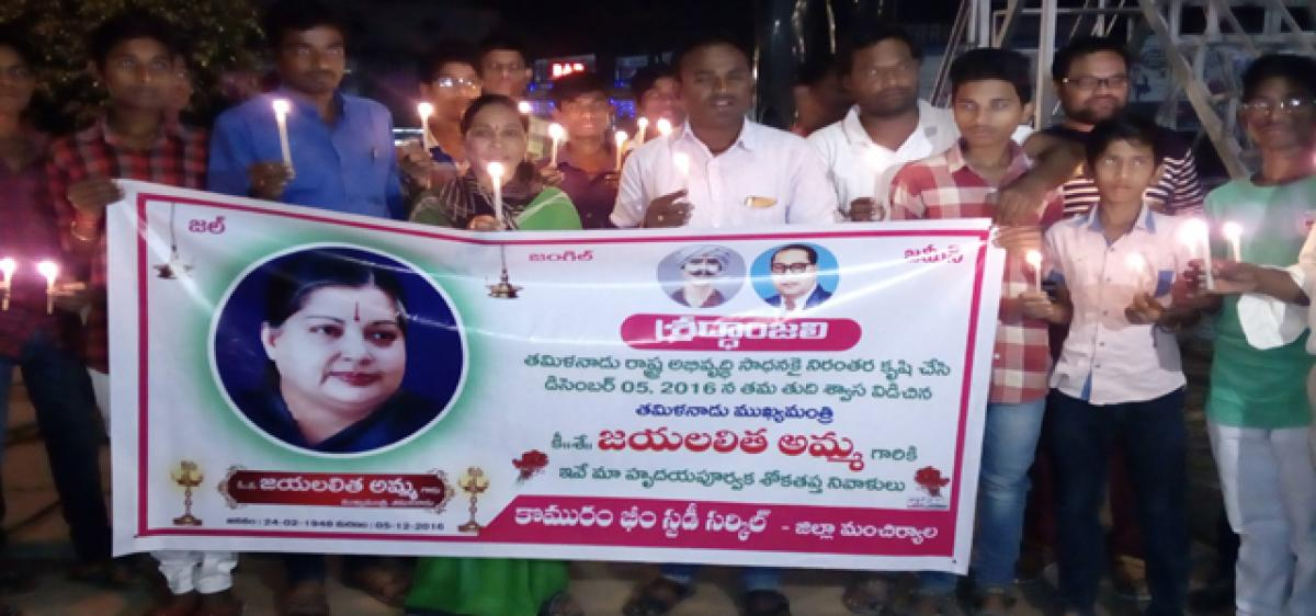 Candle rally held to pay tributes to Jayalalithaa