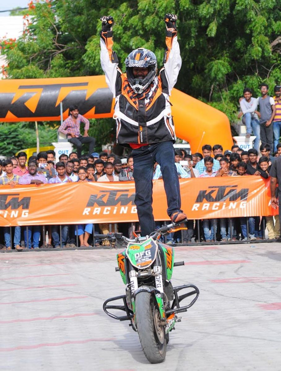 KTM stunt show stuns Guntur