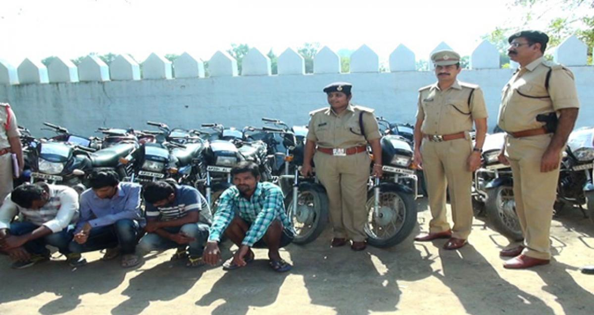 Four bike lifters held; 20 two-wheelers recovered