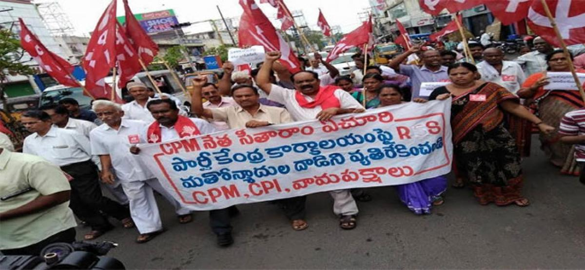 Left leaders take out rally in protest