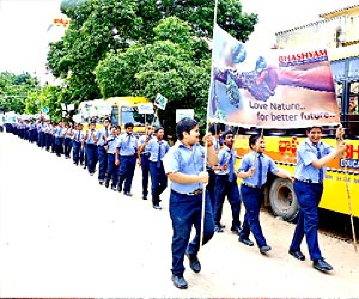 Bhashyam students take out rally