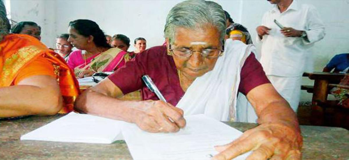 Elderly women in Kerala take to learning the alphabet with zeal