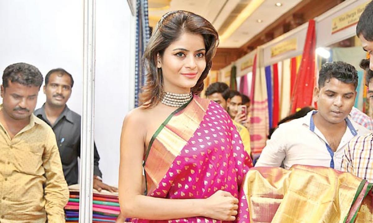 Bollywood actress opens silk expo