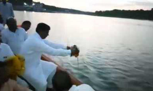 Vajpayee's ashes immersed at Musi-Krishna confluence