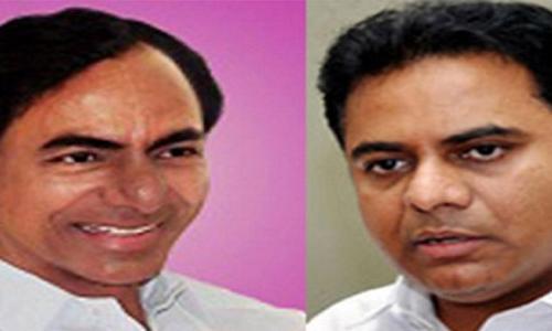 Chief Minister K Chandrashekar Rao in No 1 slot with  K T Rama Rao in tow
