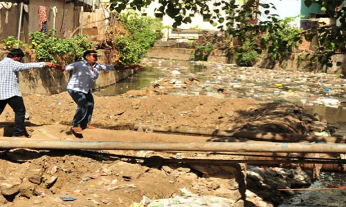 GHMC banner says, inconvenience regretted; locals question how long
