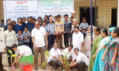 NSIC plants saplings at govt high school Musheeerabad