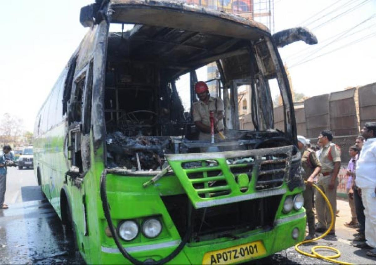 Close call for 15 passengers as RTC's Indra bus catches fire