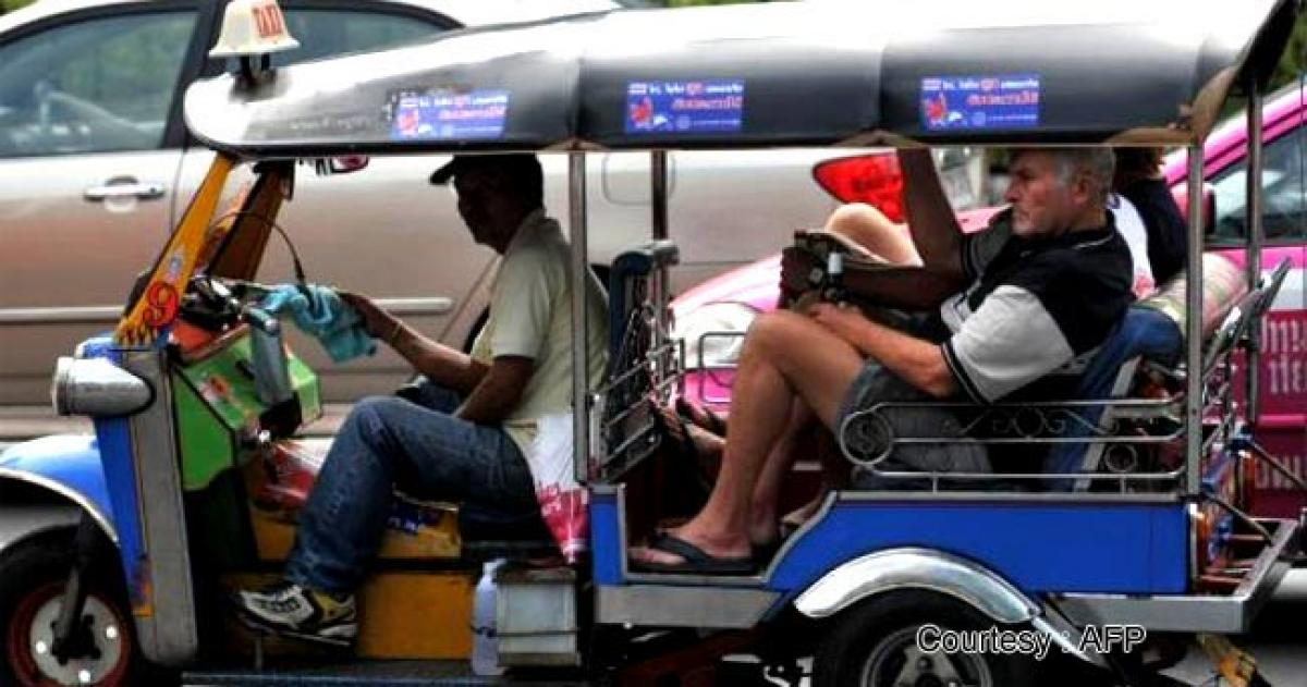 Made in India Tuk tuk on African roads