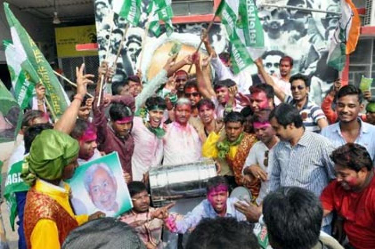 Celebrations at Congress HQ after Bihar results