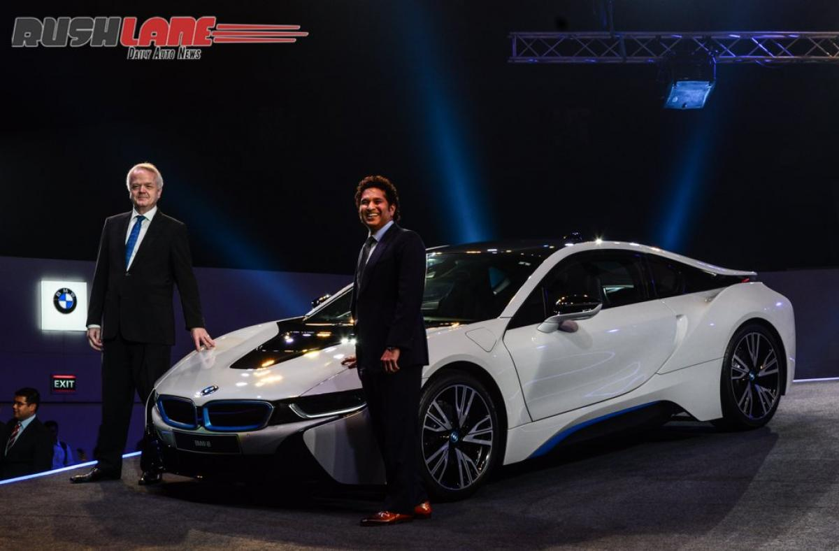 Sachin behind the wheel of BMW i8