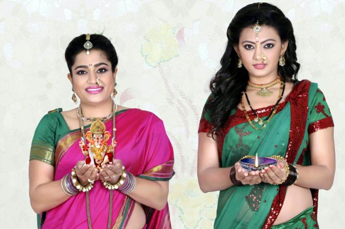 Actress Shree Rajput and Ekta Jain shoot in traditional naowari saree for Diwali