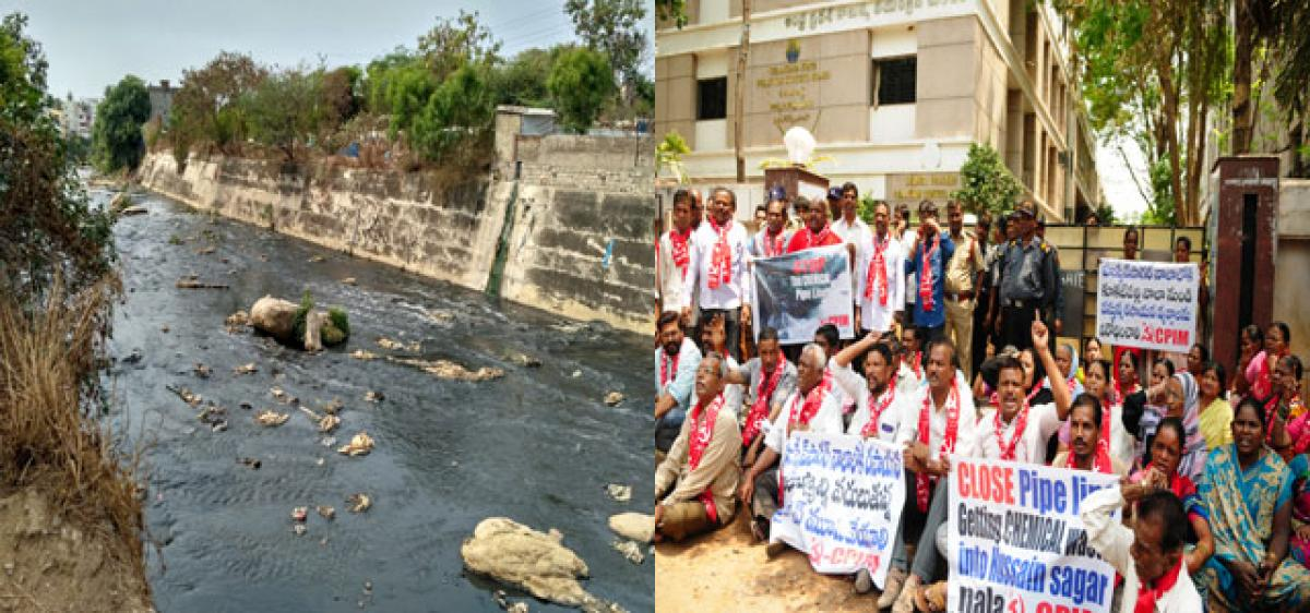 CPI(M) leaders stage protest at Pollution Control Board