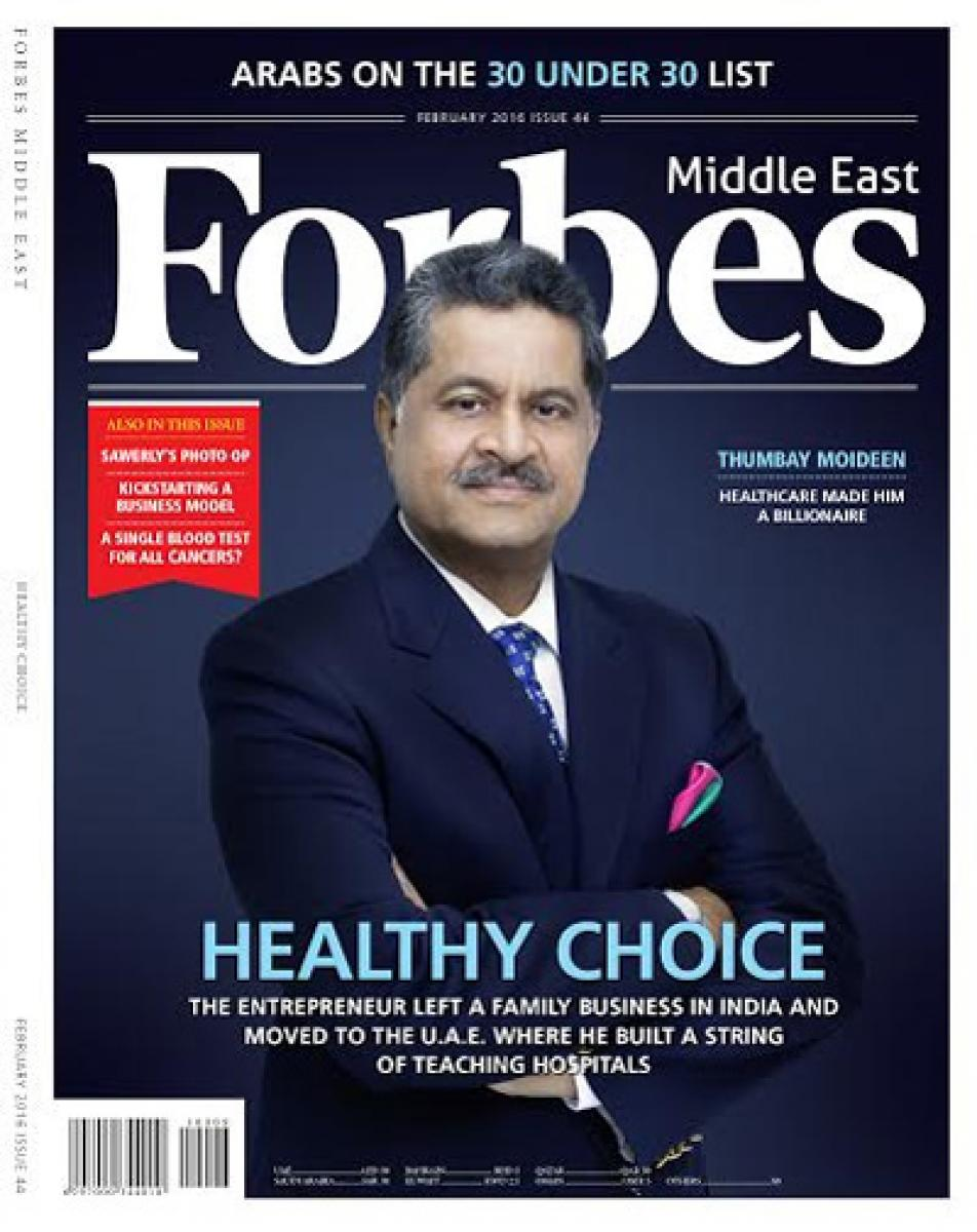 Thumbay Moideen Featured on the Cover of Forbes Middle East