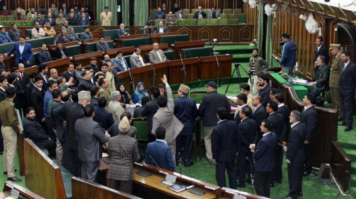 MLA marshalled out from Jammu and Kashmir Assembly for disruption