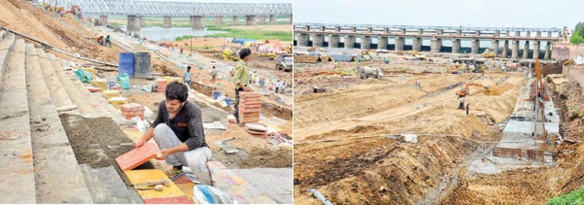 Bathing ghats channel works gain pace