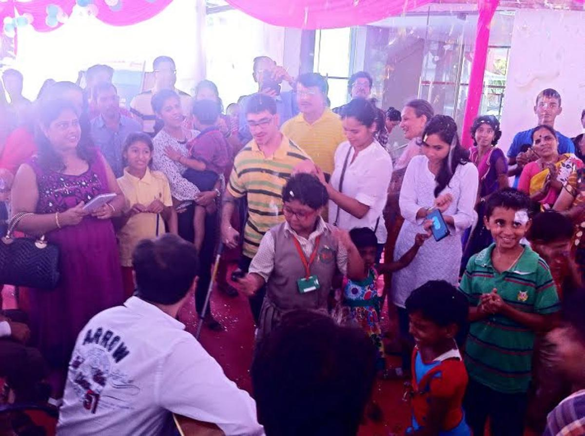 Differently-abled and normal school children come together to emphasize need for disable-friendly society