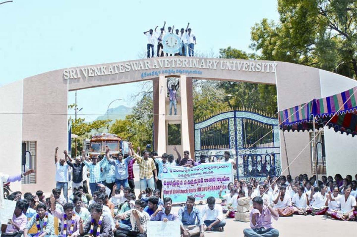 Sri Venkateswara Veterinary University students intensify stir