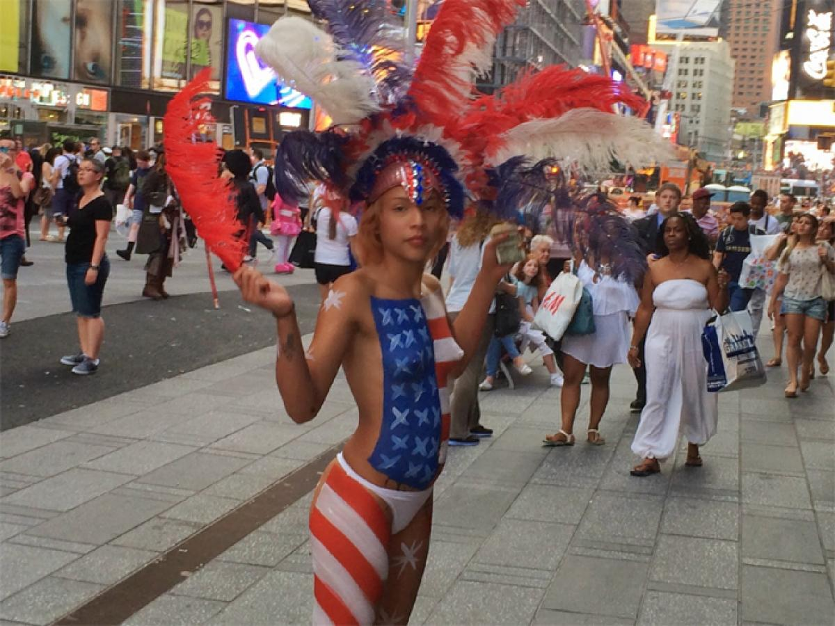 Naked Women On Time Square