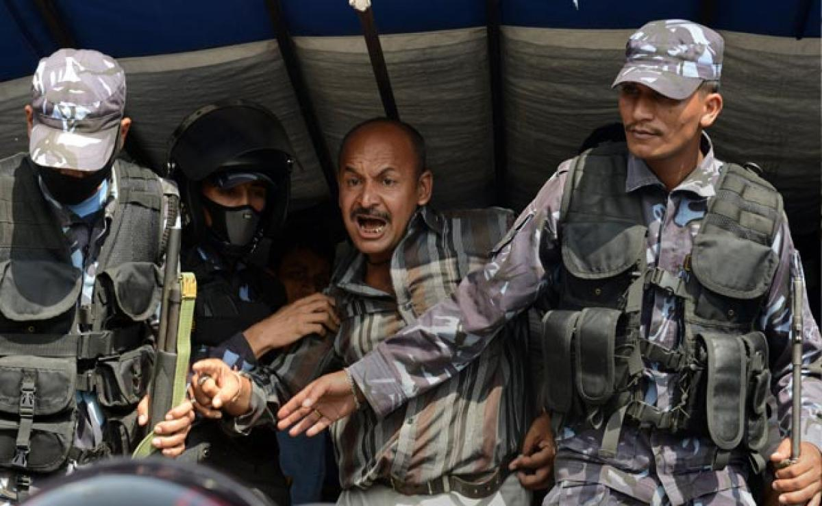 Nepal Police Arrest Dozens in Strike Over New Constitution
