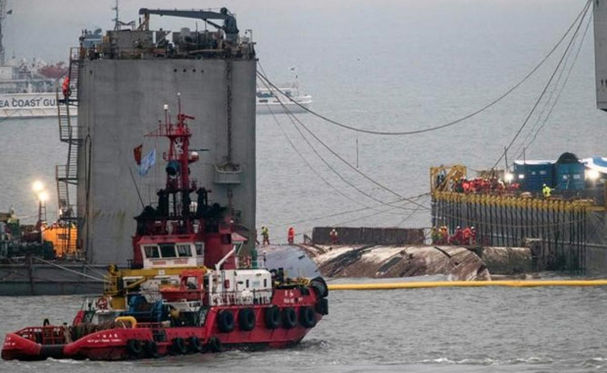 Overloaded South Korean Ferry Sunken 3 Years Ago Emerges In Grey Sea