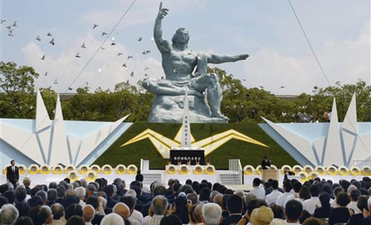 Calls to abolish nukes, drop Japan security bills, on Nagasaki atomic bombing 70th anniversary