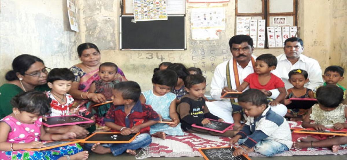 Aksharabhyasam held at Gaulipura Anganwadi centre