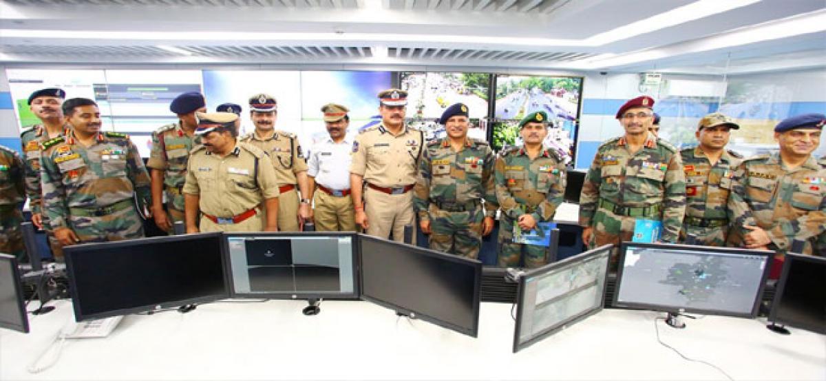 Army delegation visits Hyderabad Police Control Room