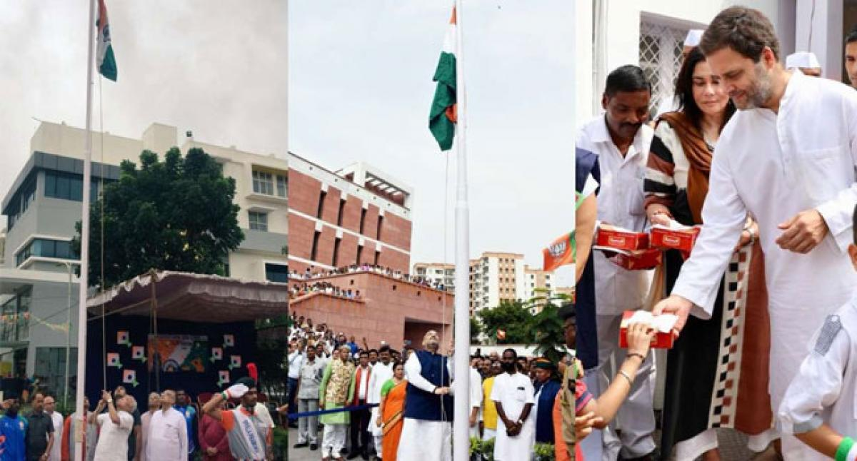 Amit Shah, Rahul Gandhi, Mohan Bhagwat unfurl tricolour on occasion of Independence Day