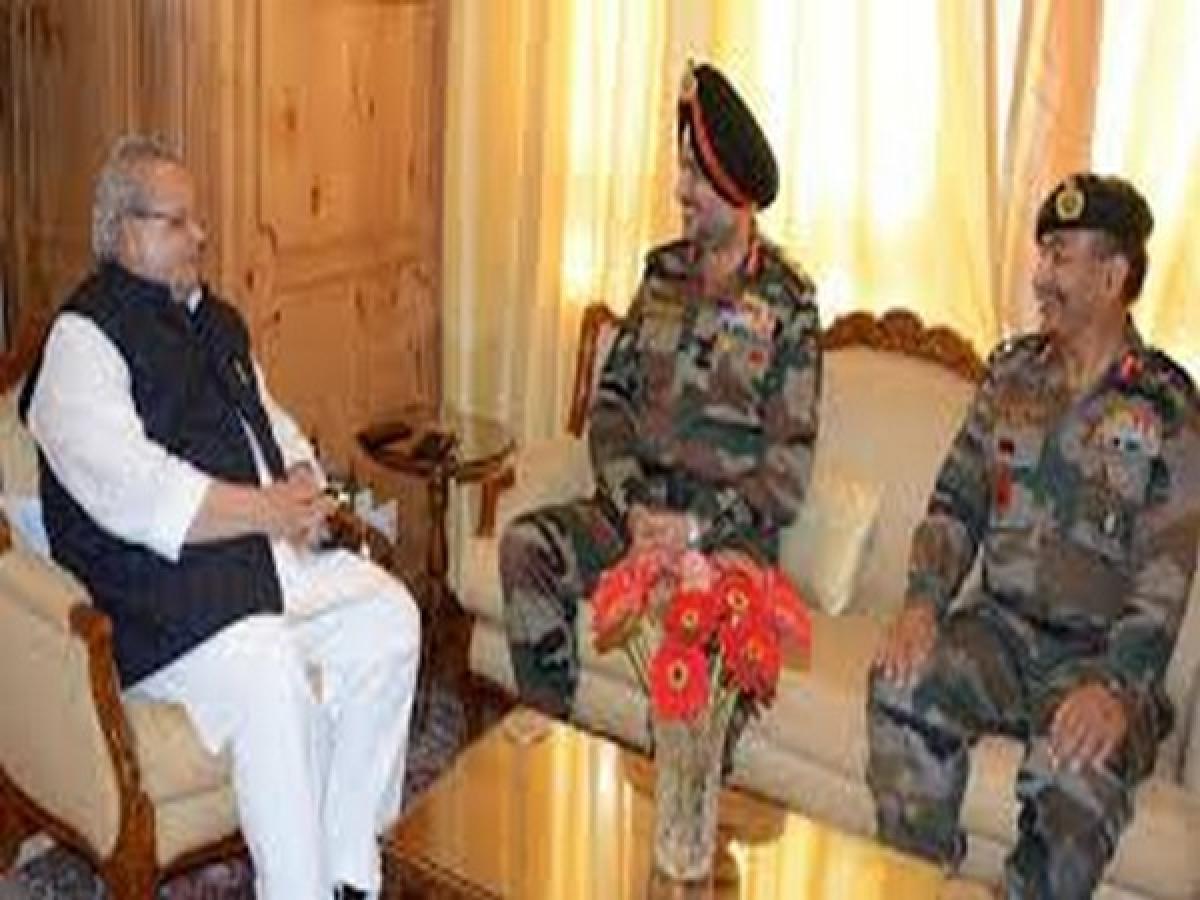 Lt. Gen Ranbir Singh meets J-K Governer Satya Pal Malik