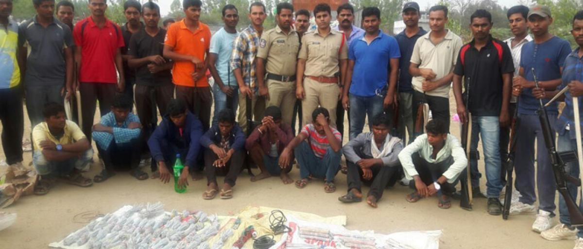 Eight held, explosives recovered