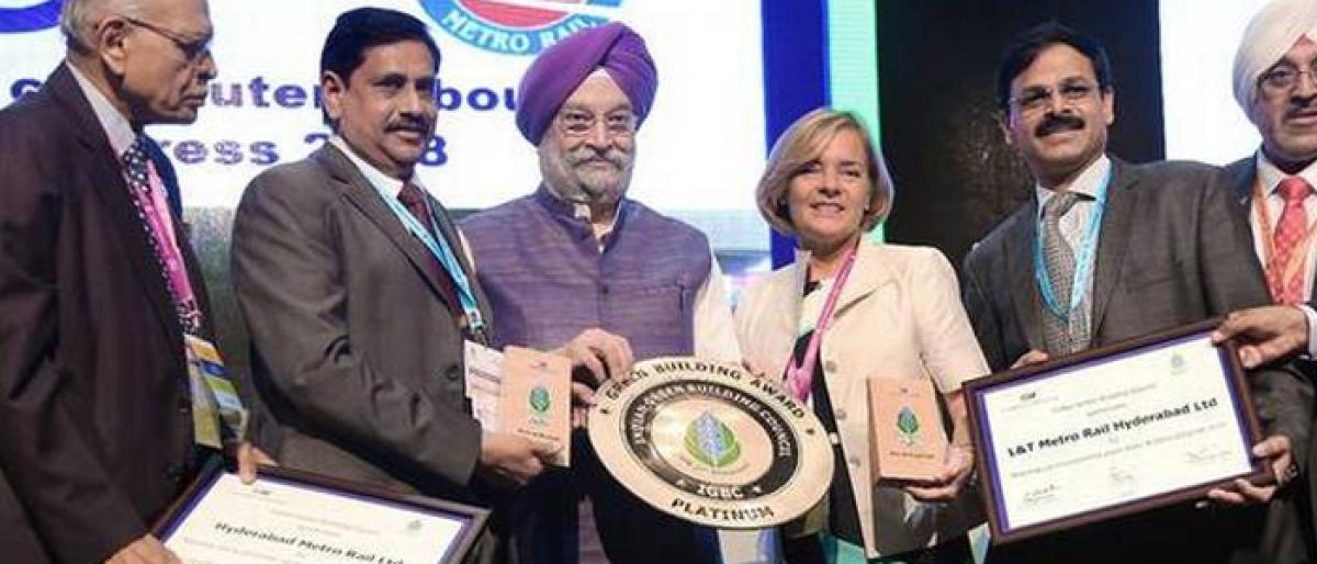 Three metro stations in Hyderabad bag IGBC platinum award