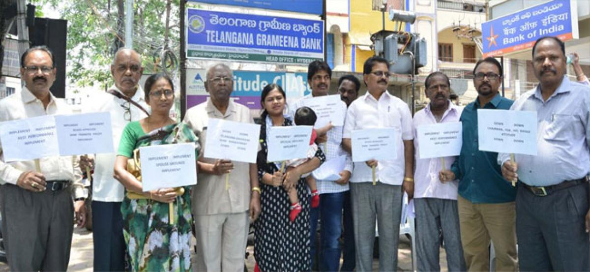 Grameena Bank SC, ST staff stage protest